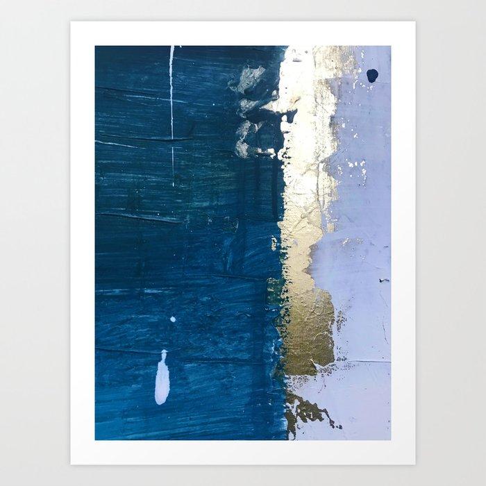 Rain [1]: a minimal, abstract mixed-media piece in blues, white, and gold by Alyssa Hamilton Art Art Print