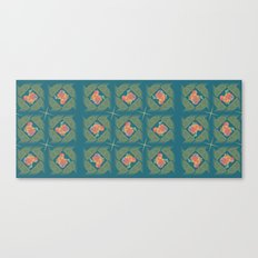 Wheat Check in Teal Canvas Print