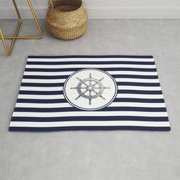 Steering Wheel and Navy Blue Stripes Rug