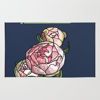 peony Area & Throw Rugs featuring Peony by Ken Coleman