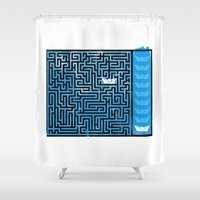 labyrinth Shower Curtains featuring Labyrinth by Stoian Hitrov - Sto