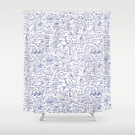 Physics Equations in Blue Pen Shower Curtain