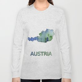 Austria map outline Blue-green watercolor painting Long Sleeve T-shirt