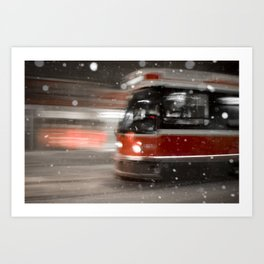 Snowy Night on Gerrard Street East, Toronto Art Print
