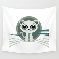 kitten Wall Tapestries featuring Kitten by Adamzworld