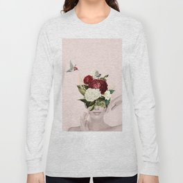 Collage of lady with flowers Long Sleeve T-shirt