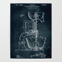 1932 - Food mixer and fruit juice extractor patent art Poster