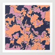 Cartografía de Orquídea (on blue) Art Print