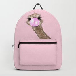 Sneaky Ostrich with Bubble Gum in Pink Backpack