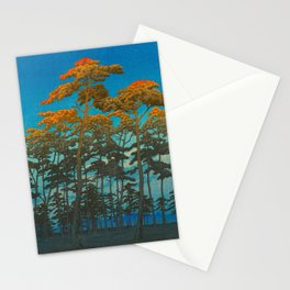 Vintage Japanese Woodblock Print Art Print Tall Sunset Trees Silhouette Twilight Forest East Asian Stationery Cards