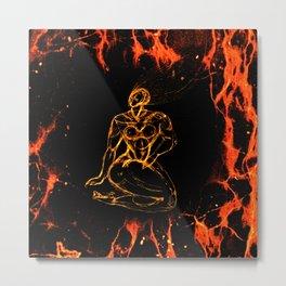 Breathing in Red Fire Metal Print