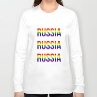 russia Long Sleeve T-shirts featuring RUSSIA by Beauty Killer Art