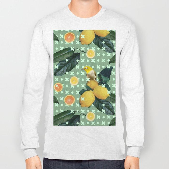 Bird & lemons green pattern Long Sleeve T-shirt