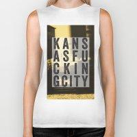 kansas city Biker Tanks featuring Kansas Fucking City by black lab studio