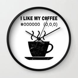I Like My Coffee Black Hex Code RGB Programmer Graphic Designer Nerd Funny Wall Clock