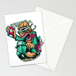 Motocycle Driver - GREEN Stationery Cards