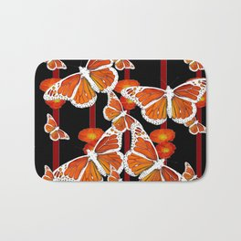 WHITE MONARCH BUTTERFLIES ORANGE POPPIES BLACK Bath Mat