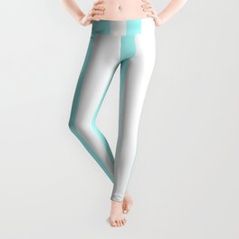 Mixed Vertical Stripes - White and Celeste Cyan Leggings