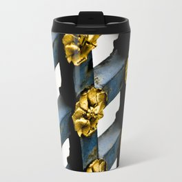 Gray Blue French Architecture with Parisian Gold Flowers Travel Mug