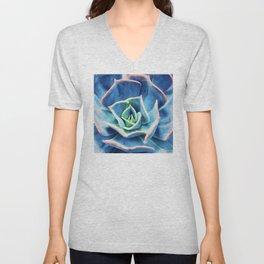 Rainbow Blue Elegant Succulent With Pink Tip Edges Unisex V-Neck