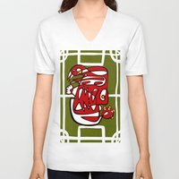 liverpool V-neck T-shirts featuring Suarez - Liverpool  by Ray Kane