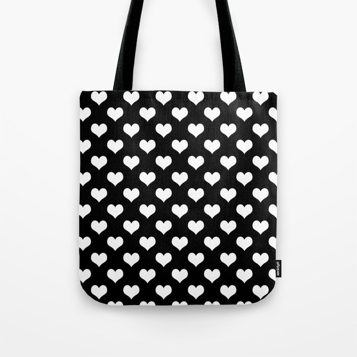 Black White Hearts Minimalist Tote Bag