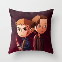 winchester Throw Pillows featuring Winchester brothers by Kaori