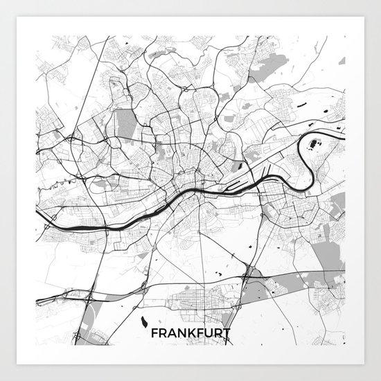 Frankfurt City Map Gray Art Print