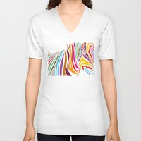 zebra V-neck T-shirts featuring Zebra by graphicinvasion