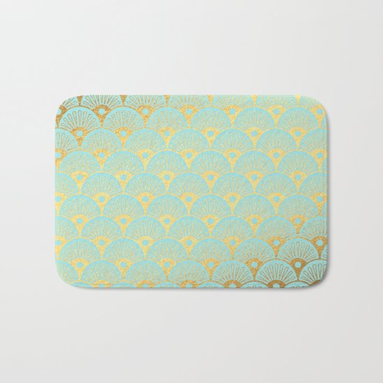 Art Deco Scales Pattern on aqua turquoise with Gold foil effect Bath Mat