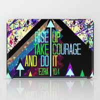 scripture iPad Cases featuring RISE UP TAKE COURAGE AND DO IT Colorful Geometric Floral Abstract Painting Christian Bible Scripture by The Faithful Canvas