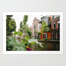 Photo of Typical Dutch Canal Houses in Utrecht, Holland/The Netherlands | Fine Art Colorful Travel Photography |  Art Print