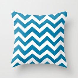 Celadon blue - blue color - Zigzag Chevron Pattern Throw Pillow