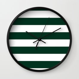 Horizontal Stripes - White and Deep Green Wall Clock