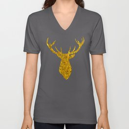 Gold Stag Deer Head Silhouette with Antlers Unisex V-Neck