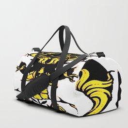 TWO UNICORNS & FLOWERS IN BLACK-GOLD ART Duffle Bag