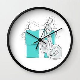 Blue Gift Box Wall Clock