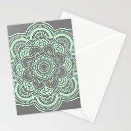 Mandala Flower Gray & Mint Stationery Cards