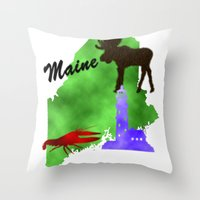 maine Throw Pillows featuring Maine by Nova Jarvis