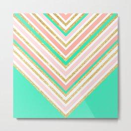 Modern boho pink gold turquoise chevron pattern Metal Print