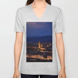 Panorama of Duomo Santa Maria Del Fiore, tower of Palazzo Vecchio. Unisex V-Neck