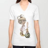teacher V-neck T-shirts featuring The teacher by daltrOnde