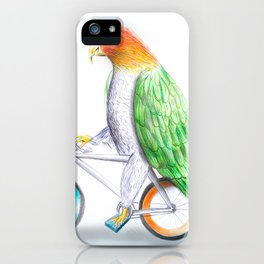 Happy Parrot and his bike iPhone Case