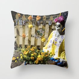 Day of the Dead Cemetery Altar with Marigolds and Frida Kahlo Skeleton Lady Throw Pillow