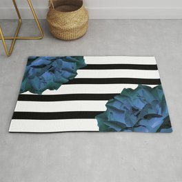 Blue roses on stripes Rug