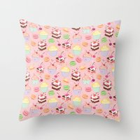macaroon Throw Pillows featuring sweet pattern aka cake , cupcake and macaroon by Marta Olga Klara