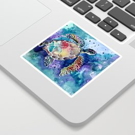 Sea Turtle underwater, beach deep blue barine blue turtle beach style design Sticker