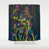 psych Shower Curtains featuring Magic mushrooms by Ruta13