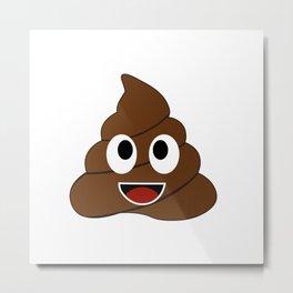 Humor shit poop emoji funny and kawaii character Metal Print