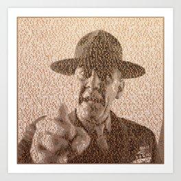 Text Portrait of Sergeant Hartman with Full Script Of Full Metal Jacket Art Print